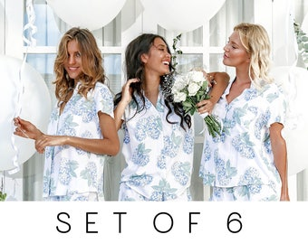 SET OF 6 - 20% Disc - Maggie Pajama Set of 6 - Hydrangea Blue - Code: P043 + P005