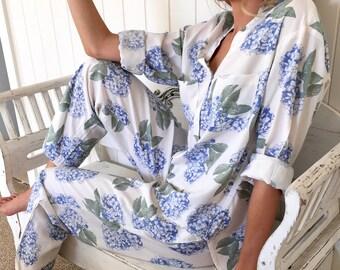Maggie Long Pajama Set - Hydrangea Blue - Code P043 (b)  / P005 (c)