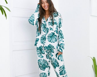 Maggie Long Pajama Set - Panama Palm Leaf - Code P043 (b)  / P005 (c)
