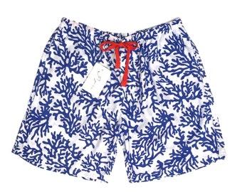 Men's Boxer Shorts - Coral ~ Navy BLUE - Code: P027