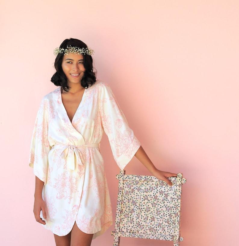 7a11a79cd633b Bridesmaid Robe Luxurious Short Kimono Robe Magnolia BLUSH