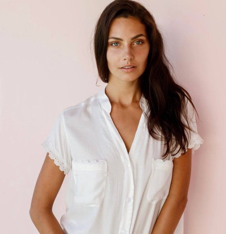 37f6d686595 Maggie Pajama Set BRIDAL Plain Ivory with Cotton Lace