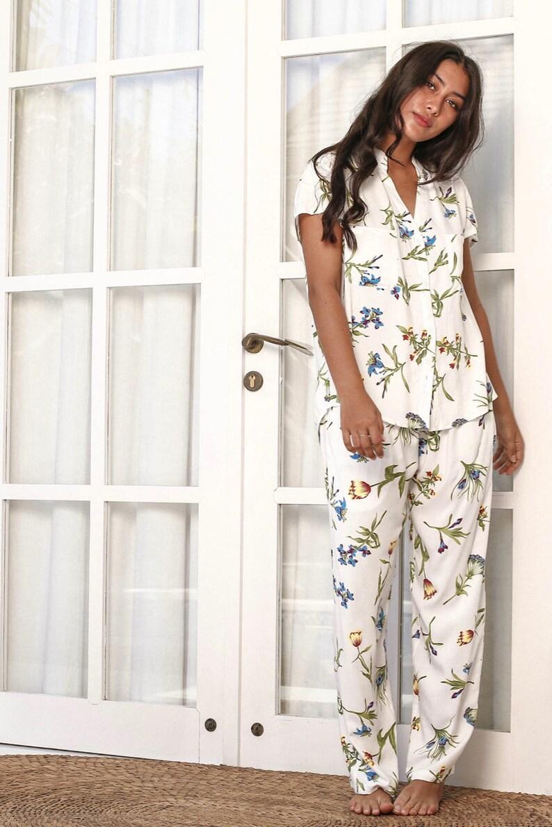 Code P043  P005 Maggie Pajama Set Wild Flower BLUE Long Pants c