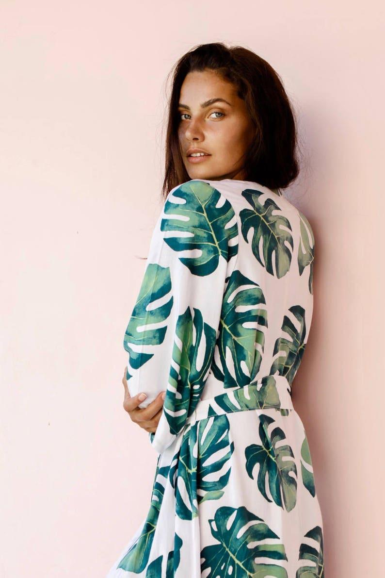 Panama Palm Bridesmaid Robes UNLINED Long Kimono Robe