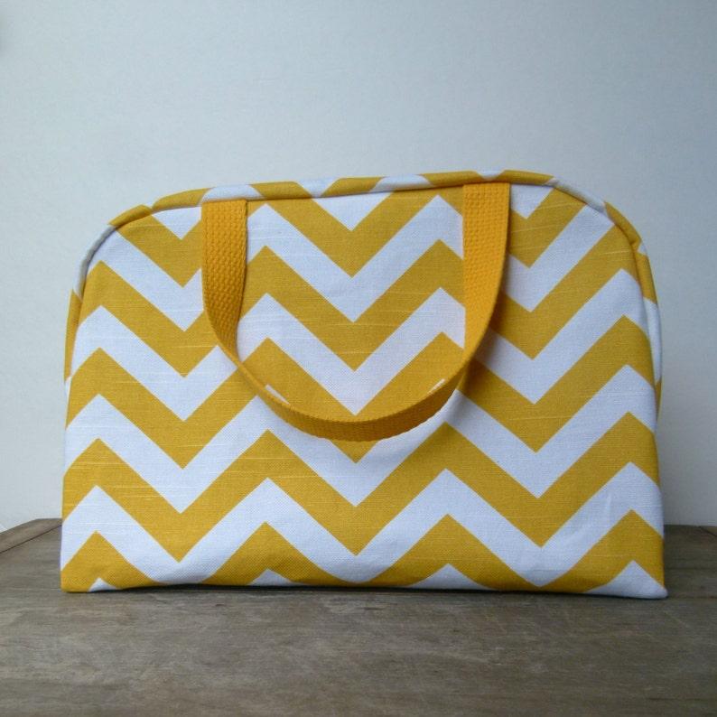 Oversized Yellow Chevron Toiletry Bag Bridesmaid Gift Extra  2bbb1c37bfb62