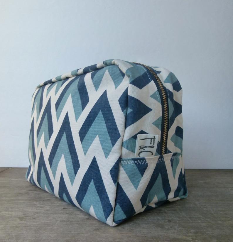 Blue Geometric Toiletry Bag Bridesmaid Gift Dopp Kit Blue  58401f0b585ac
