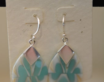 a96383718 JODY COYOTE Silver Pierced Earrings, NOS, Pearlized Dangle Drops with Teal  Modern Swirl Design, Hypo Allergenic, Vintage