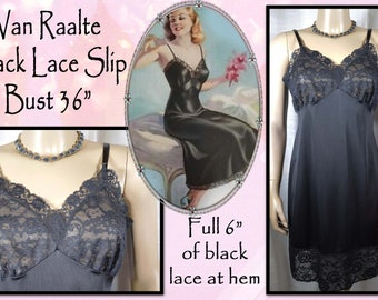 1960s black slip with wide lace hem  60s full slip in black  van raalte opaquelon lingerie