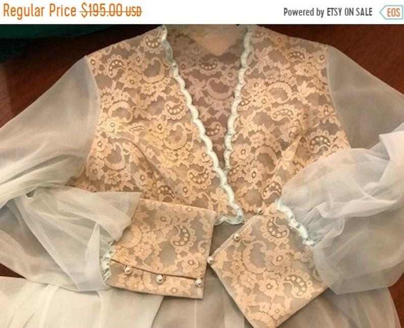 Unworn SHADOWLINE Peignoir Night Gown Small Light Blue Lots of Lace Robe Honeymoon NOS wTag,Chiffon Double Nylon Bridal Vintage