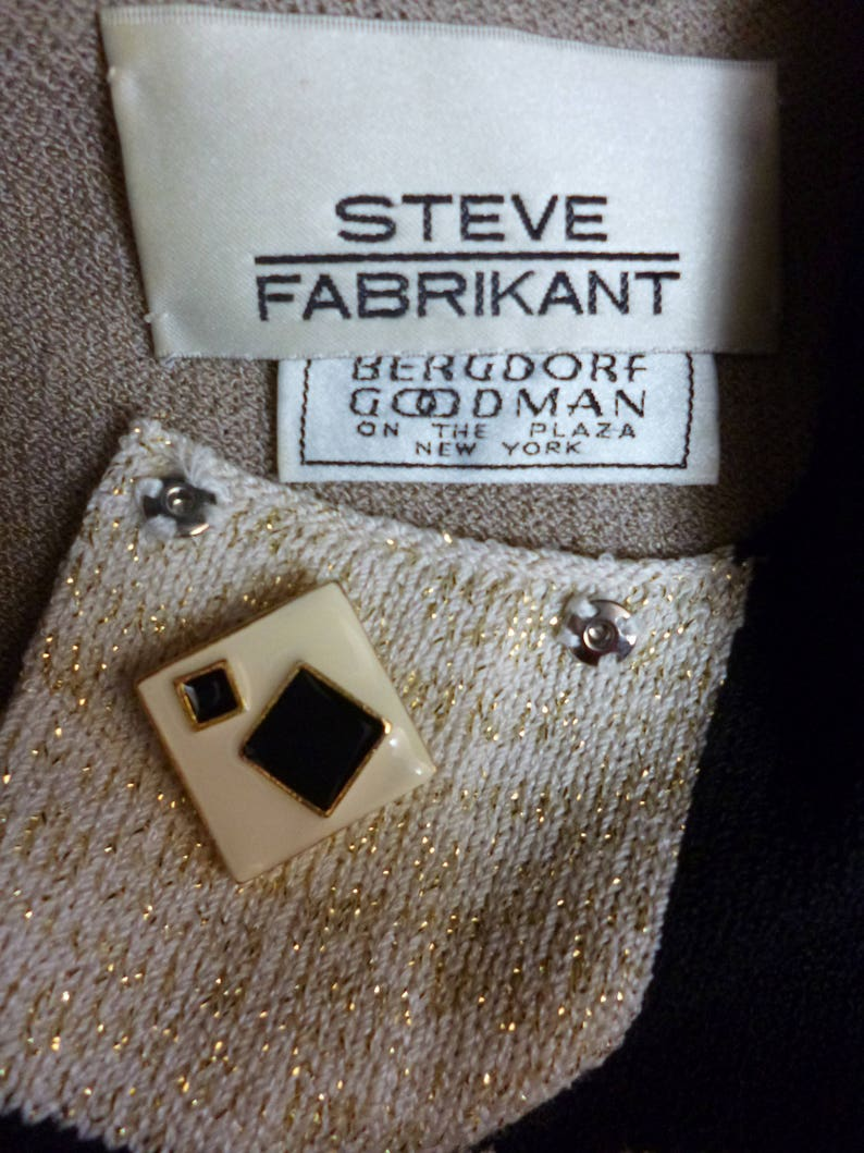 Enamel Abstract Buttons Steve Fabrikant Dress Santana Knit SMed Geometric Linear Design Beige Black Sparkles Vintage