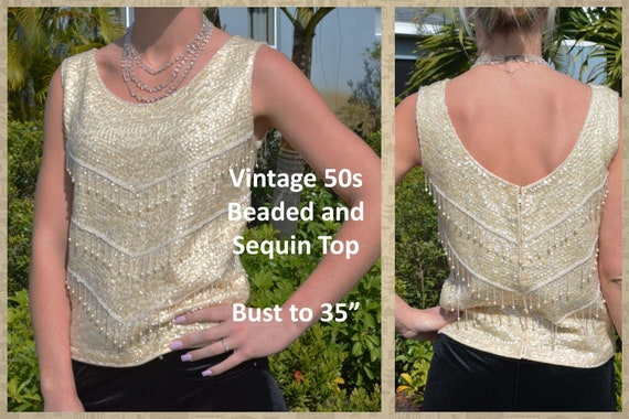 Beaded and Sequin Top, Creamy White, Sequins and P