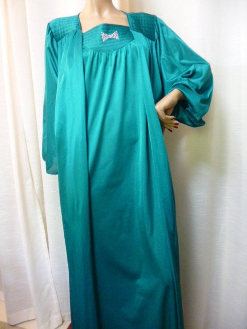 Unique Rivet Bow Detail SALE UNDERCOVER Wear Peignoir Set Viintage 80s Gown and Robe TurquoiseTeal MedLarge