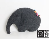 Felted Wool Elephant - Born Free Foundation Charity toy wool pillow