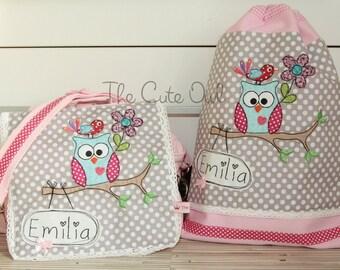 062380bcffc11 Set  Süße Eule  Kindergarten- Rucksack Tasche in einem mit passendem  Turnbeutel   Kindergartentasche Kindergartenrucksack mit Name