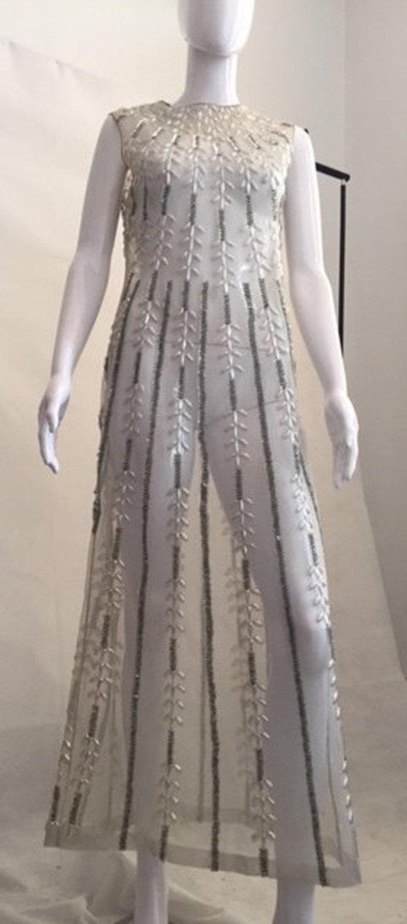 VINTAGE 60's hand beaded glamour dress