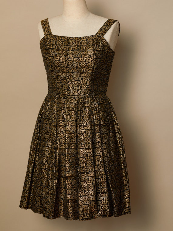 Vera Mont Gold Brocade Cocktail Dress