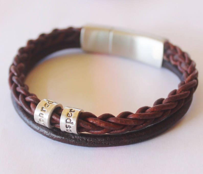Mens Leather Bracelet Custom bracelet Men Leather Wrap Men Personalised Bracelet engraved bracelet Mens Gift Mens  Charm Fathers Day