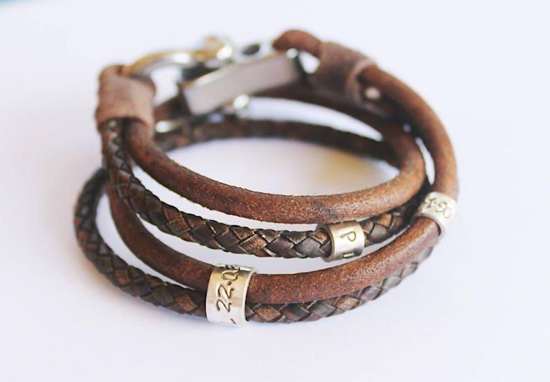 Mens Bracelet Leather Bracelet Mens Leather Bracelet Bracelet Mens leather Mens Personalised Bracelet Anchor bracelet Mens Gift