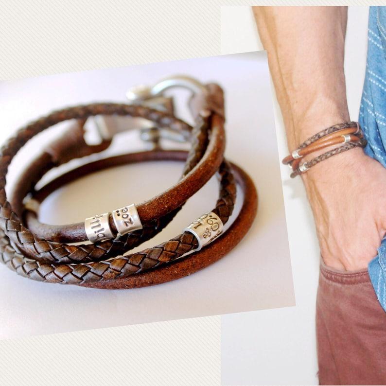 3b05e394ad826 Mens Leather Bracelet, Mens Personalised Bracelet, Leather Bracelet, Anchor  bracelet, Bracelet Mens leather, Mens Bracelet, Mens Gift