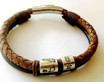 Silver Handprint, Silver Footprint Bead Custom Bracelet, Mens Leather bracelet, Silver Handprint Charm, Silver Footprint Charm