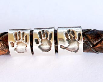 Footprint Charm Handprint Charm Silver Bead Footprint Bead
