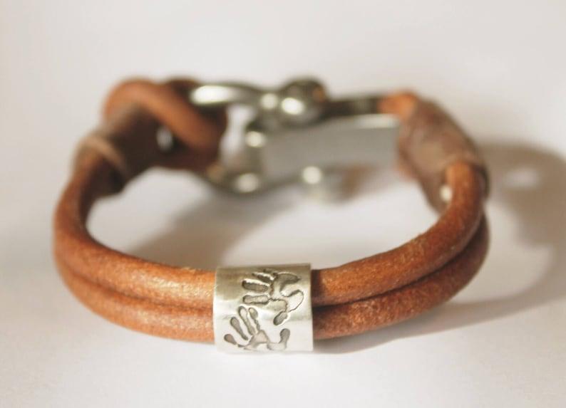 2447d5200ca192 Mens Gift Hand Print Bracelet Personalized Charm Bracelet   Etsy