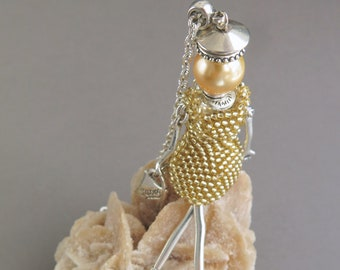 Golden French Doll Pendant Necklace, Golden Girl Doll Necklace Pendant, Mood Jewelry, Beaded Doll Shopaholic