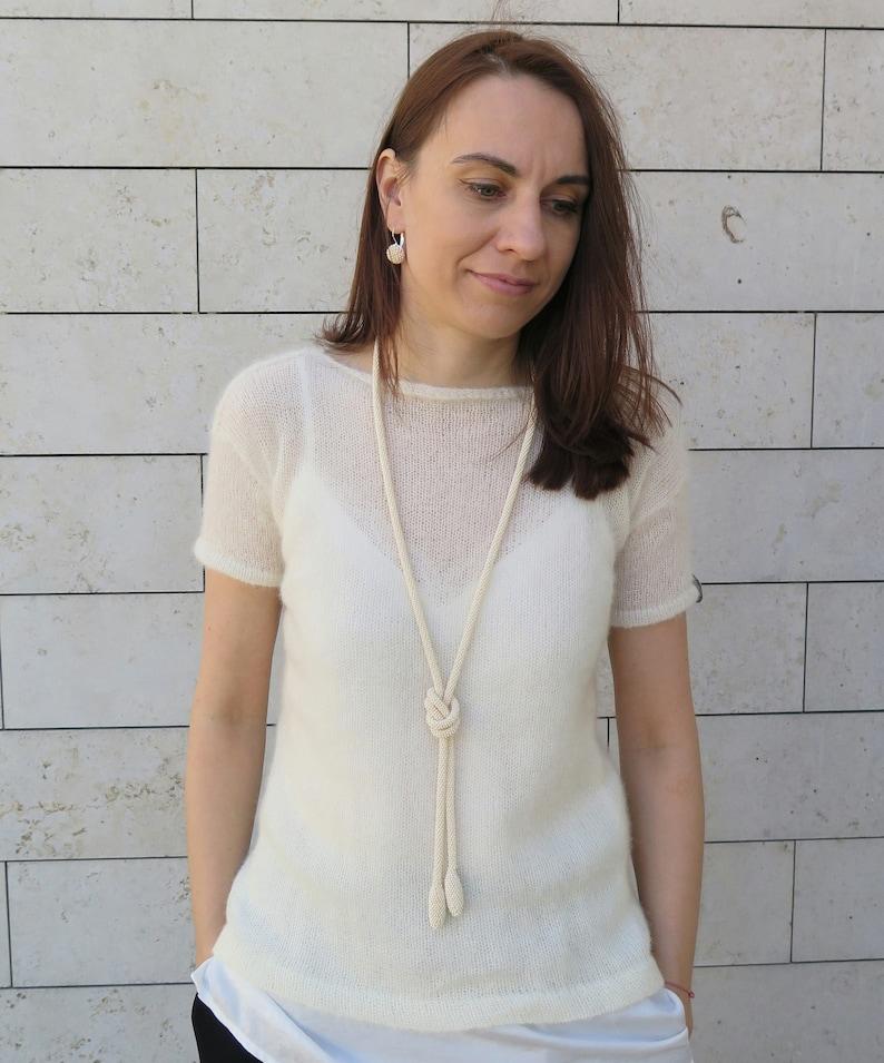 Beige Pearl Long Bead Crochet Necklace Bridal Jewelry