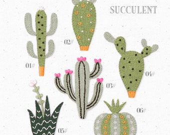 Finely made cactus/succulent iron on patch/patches/cactus/plant patch/plant/green/appliques