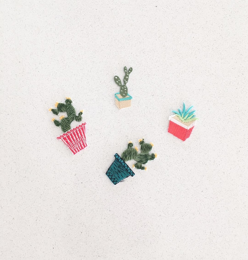 adorable cactus iron on patch/patches/patch/embroidery image 0