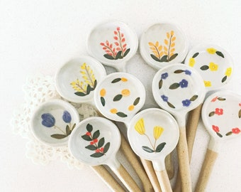 Beautiful handmade floral theme ceramic spoons --- kitchen decor, house warming gift, foodie gift, gift for her