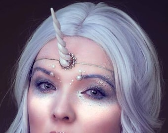 Pearlescent white unicorn horn tiara