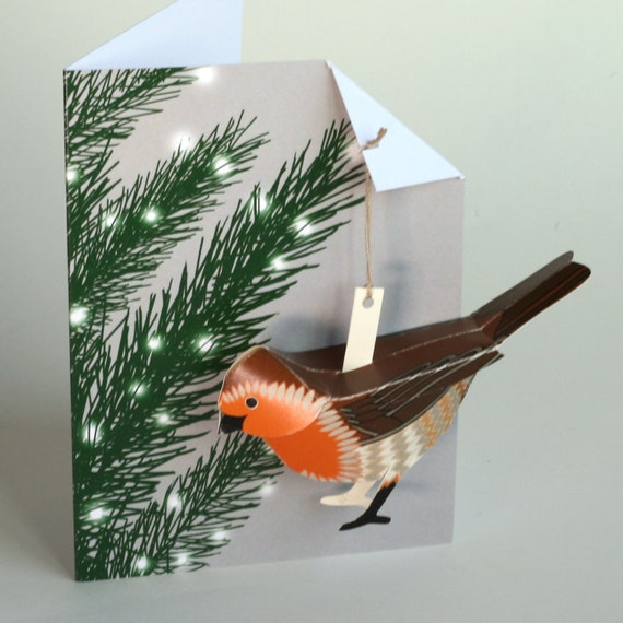 Christmas Stocking and Robin Amazing 3D Lazer Cut Christmas Greeting Card