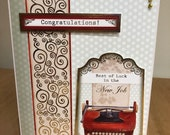 Gold Foiled Typewriter Themed New Job Greetings Card