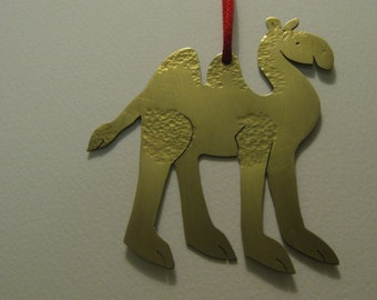 Camel hanging Christmas decoration in brass