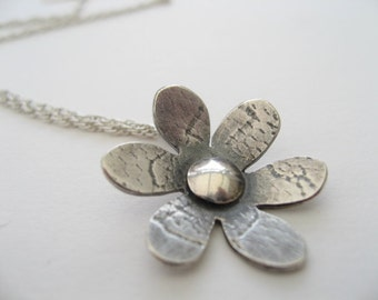 flower pendant necklace in sterling silver
