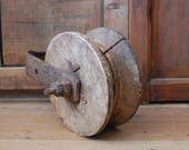 Antique pulley, Wood block, Iron tackle, Large pulley, Cast iron with heavy wood, Pulley tackle, Primitive pulley, Industrial, Barn pulley