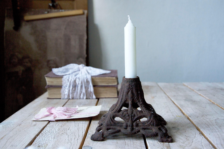 Matt Black Cast Iron Ornate 5 Pillar Candle Holder Wedding Table Centrepiece