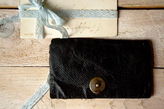 Antique leather wallet, Small leather planshet, Coin pocket, Leather case, Vintage bag, Black leather wallet, Leather bag, Leather pouch