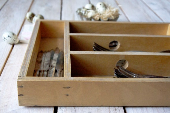 Vintage silverware caddy, Rustic cutlery box, Table top utensil box, Cutlery tote, Knife box, Utensil carrier, Wooden chest, Rustic storage