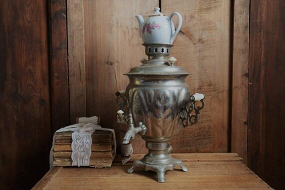 Vintage samovar, Teapot, Electric kettle, Metal tea pot, Water heater, Teapot, Rustic pitcher, Shabby chick display, Rustic wedding decor