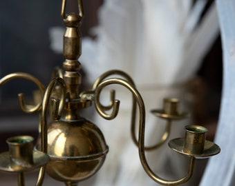 Vintage brass candlestick holder, Vintage candlestick holder, Chandelier, Christmas table decoration, Party supplies, Barn wedding décor