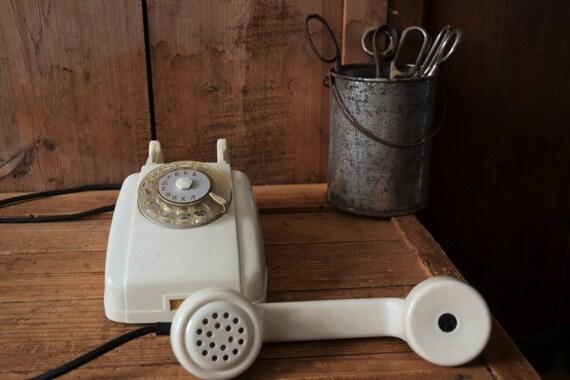 Vintage phone, Vintage office decor, Rotary phone, Vintage dial rotary phone, Retro phone, Dial desk phone, White phone, White rotary phone