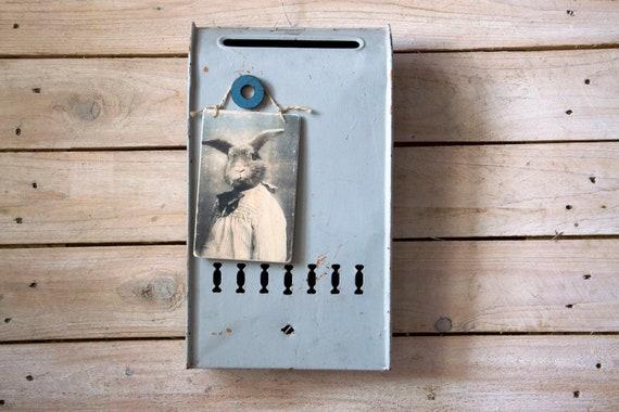 Vintage mailbox, Vintage wall metal mailbox, Metal mailbox, Old letterbox, Metal chest, Rustic storage, Wedding decor, Primitive mailbox