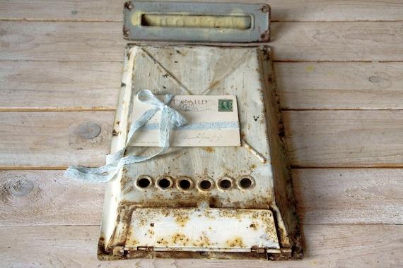 Antique door mailbox, Vintage iron mailbox plate, Metal mailbox door plate, Door letterbox plate, Rustic mailbox plate, Primitive mailbox