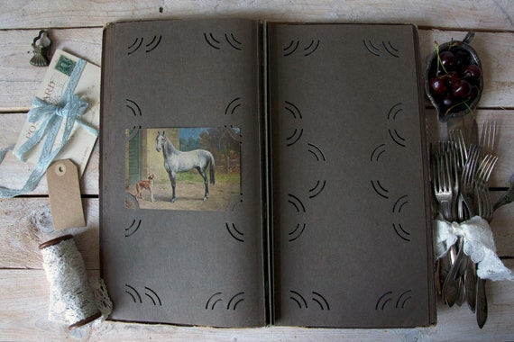 Antique photo album, Postcard album, Scrapbook lists album, Memory book sheets, Sketchbook, Postcard album, Scrapbooking supplies, Wedding