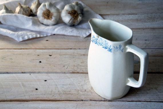 Antique stoneware pitcher, Cream white milk jug, Ceramic milk jug, Pottery jug, Food serving, Table setting, Milk dish, Photography props