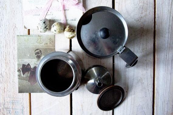 Vintage coffee pot, Vintage coffee kettle, Old stainless moka coffee pot, Mid century coffee kettle, Coffee pitcher, Farmhouse kitchen