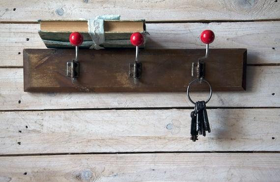 Rustic 3 ball wooden coat hook, Retro hanger, Coat rack, Strong hook rack barn, Mid century coat rack, Wall hook barn, Vintage storage