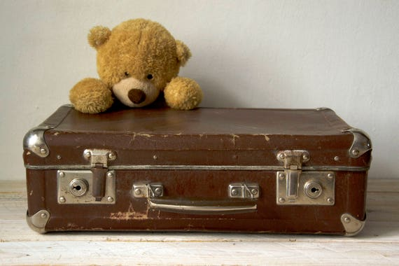 Vintage brown suitcase, Small suitcase, Cardboard suitcase, Briefcase, Old cardboard suitcase, Storage box, Luggage suitcase, Bedside table